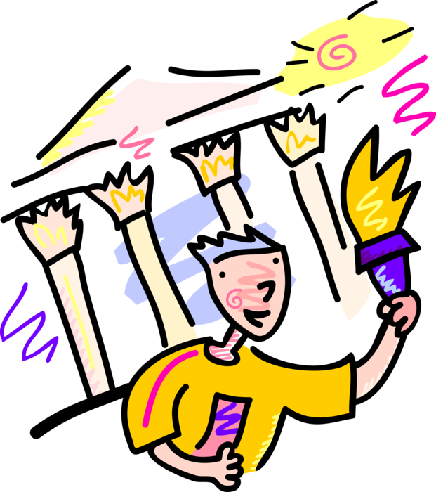 Torch clipart champion. Olympic runs with flame