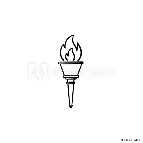 Olympic hand drawn outline. Torch clipart champion