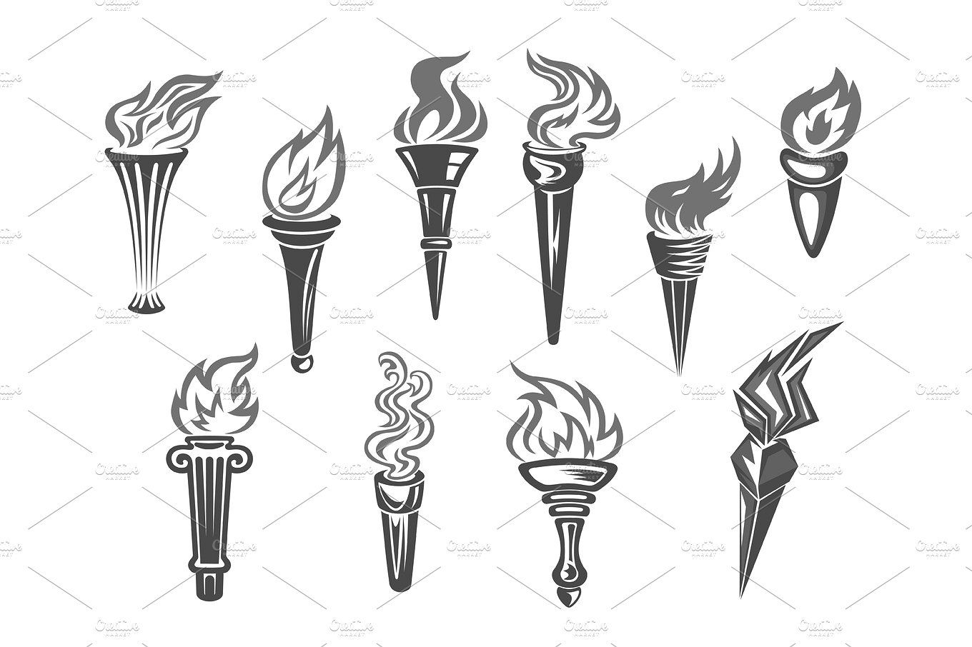 Sport games flame vector. Torch clipart champion