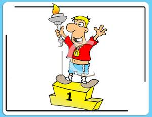 Torch clipart champion. A colorful cartoon of