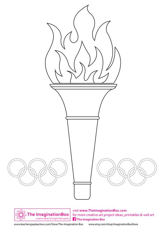 Torch clipart coloring. Olympic template can decorate