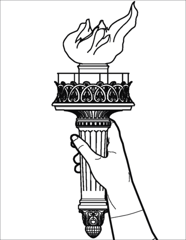 Statue of liberty page. Torch clipart coloring