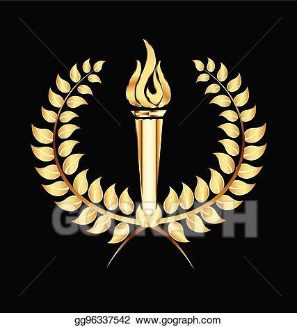 Torch clipart golden. Eps illustration flames gold