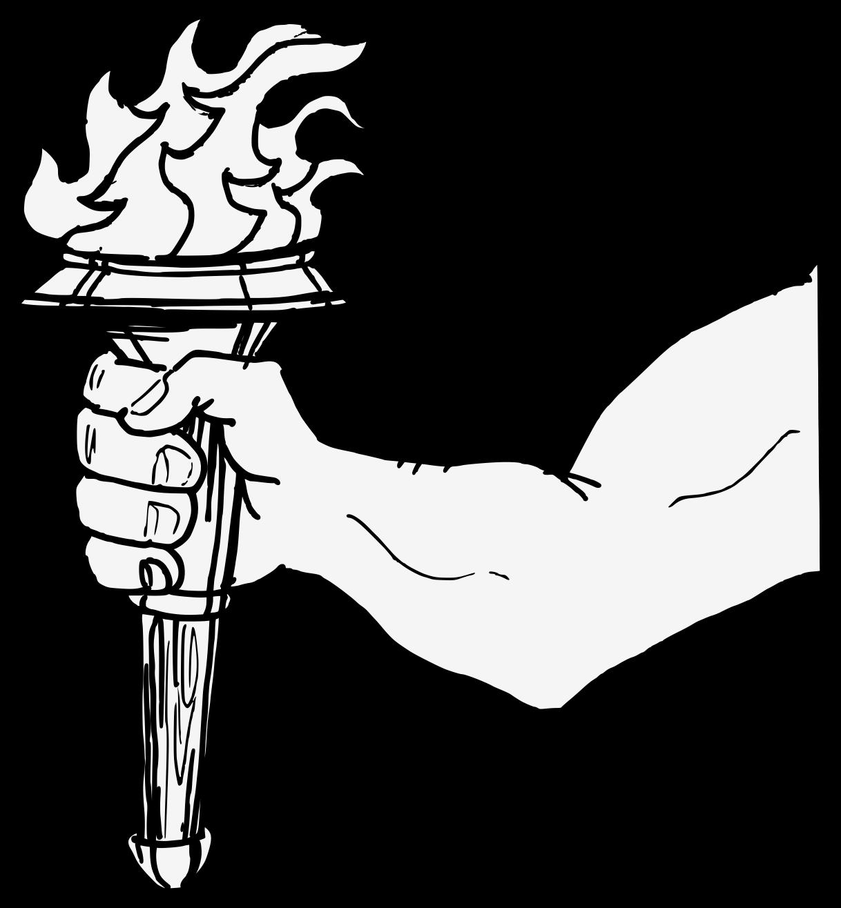 Arm traceable heraldic art. Torch clipart hand