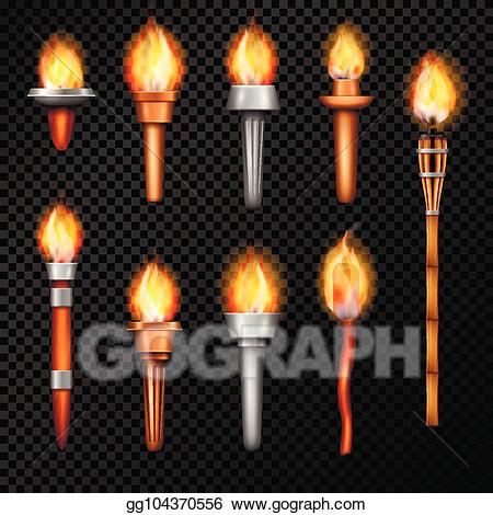 Torch clipart realistic. Vector illustration fire set
