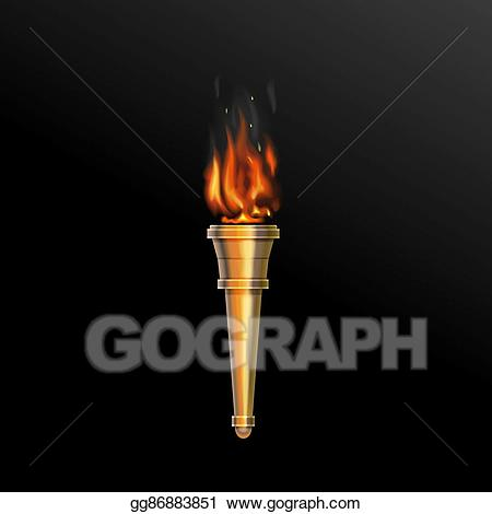 Stock illustration fire . Torch clipart realistic