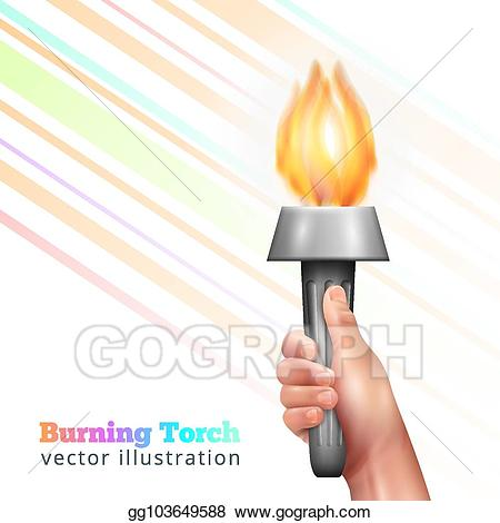 Vector art hand background. Torch clipart realistic