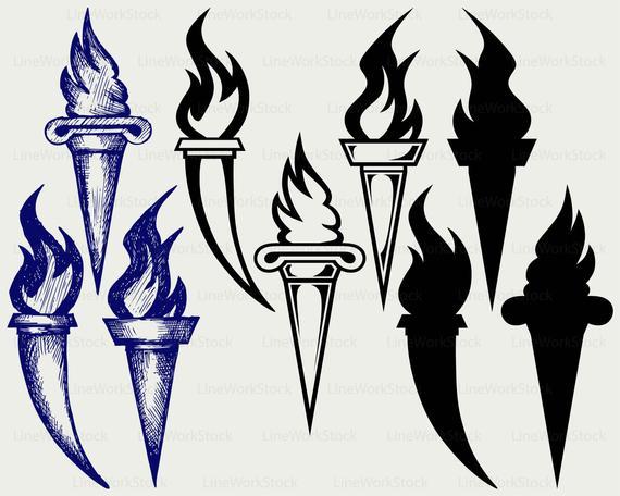 Burning silhouette cricut cut. Torch clipart svg