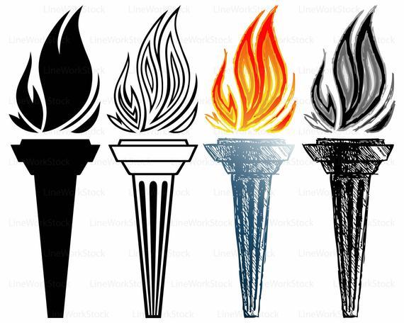 Torch clipart svg. Burning silhouette cricut cut