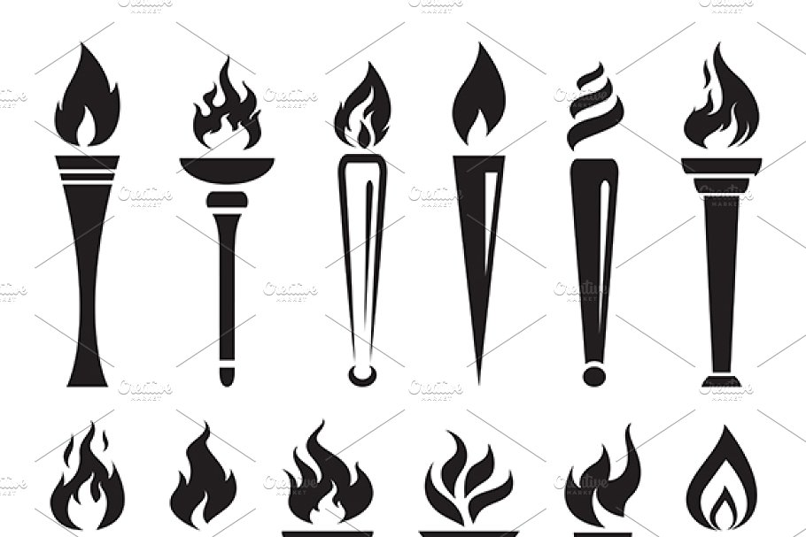 Vector of fire flame. Torch clipart victory
