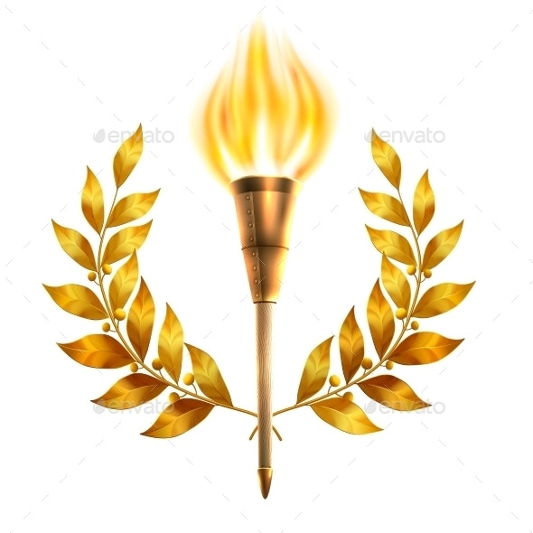 And laurel wreath . Torch clipart victory