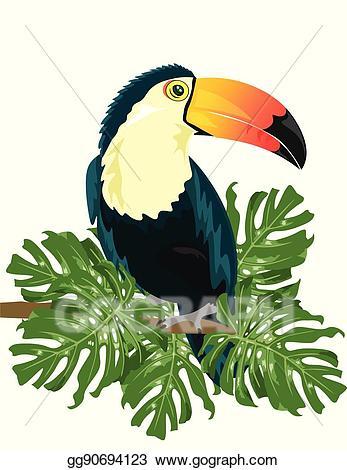 Vector art sitting on. Toucan clipart branch