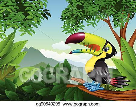 Toucan clipart branch. Vector illustration cartoon on