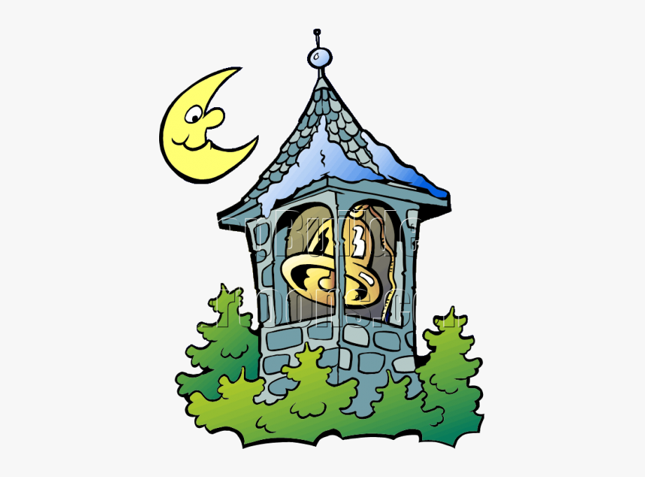 Tower clipart bell tower. Christmas with moon clip