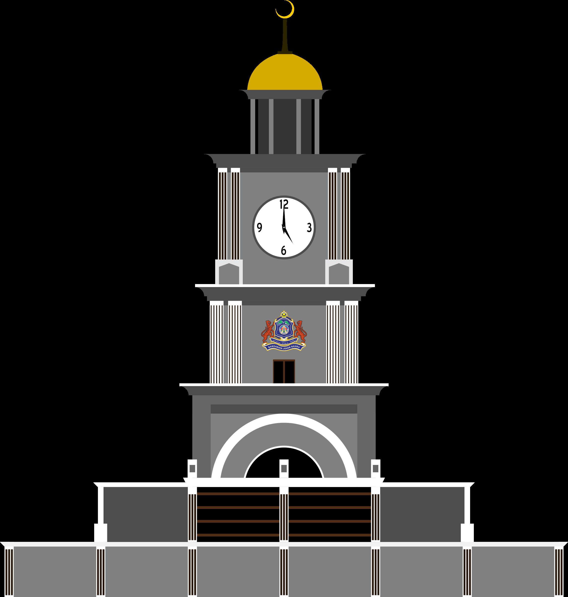 Johor bahru big clock. Tower clipart ben