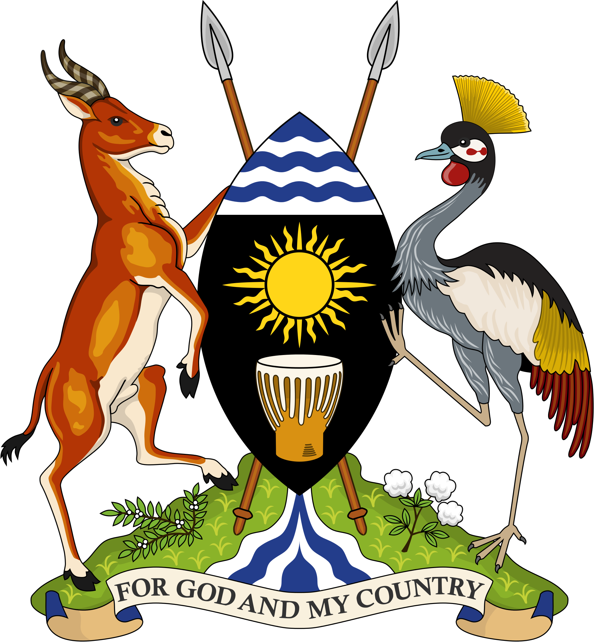 Tower clipart coat arm. Uganda knowledge of arms