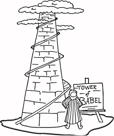 Tower clipart coloring page. Of babel free printable