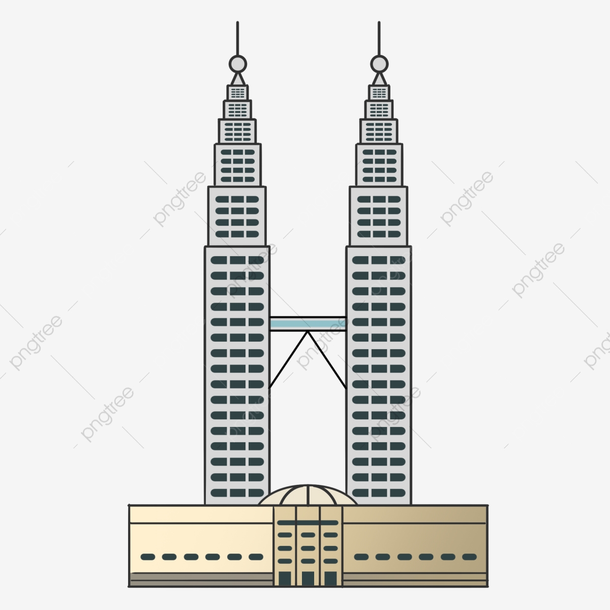 Hand painted tourism scenic. Tower clipart malaysia twin tower