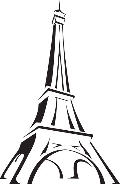 Eiffel black and white. Tower clipart project