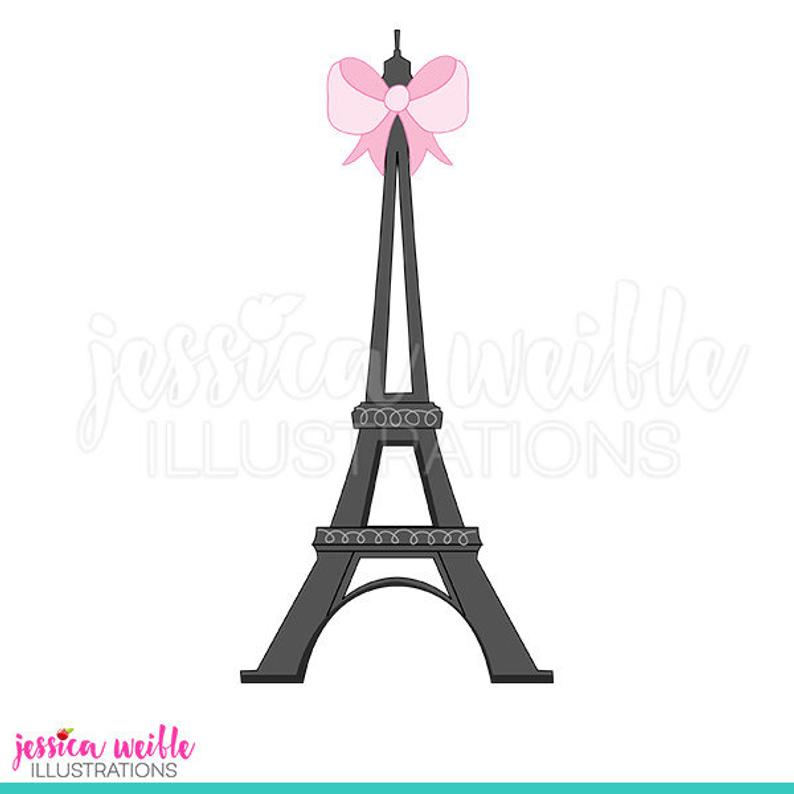 Eiffel with bow cute. Tower clipart tower paris