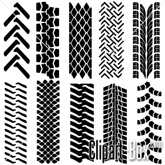 Tracks set tractor prints. Track clipart truck tire track