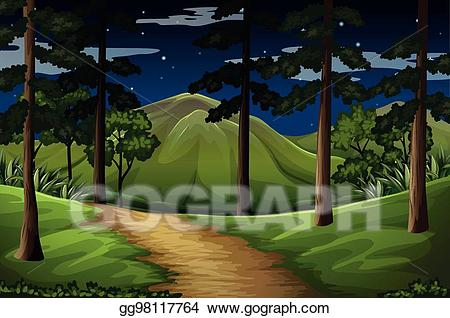 Eps illustration with to. Trail clipart forest scene
