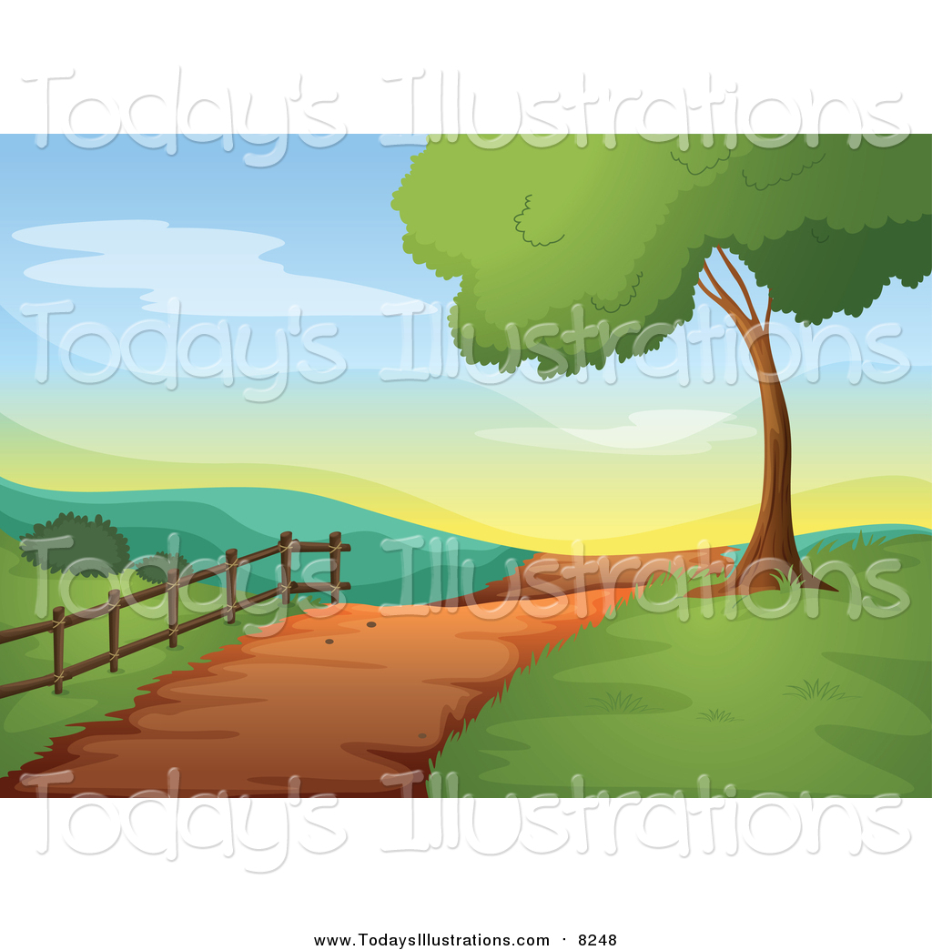 Trail clipart horizon. Of a in hilly