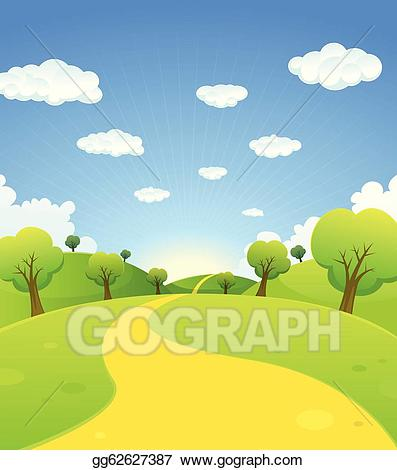 Eps vector spring or. Trail clipart horizon