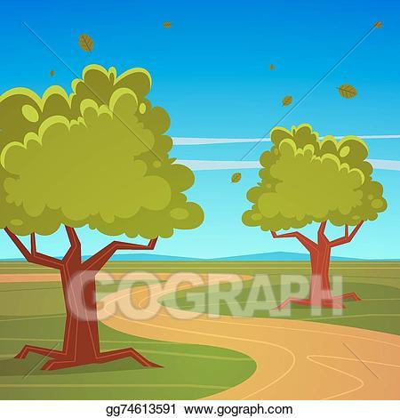 Eps vector summer landscape. Trail clipart horizon