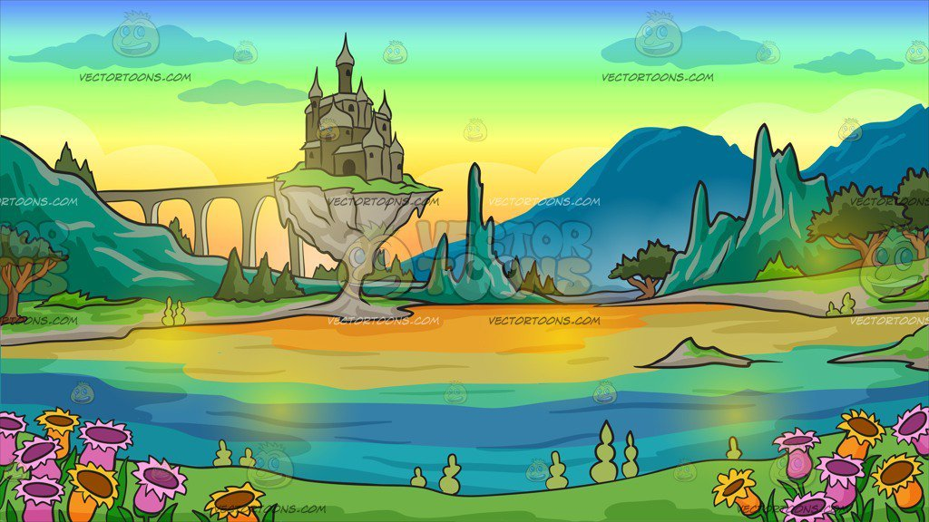 A castle in background. Trail clipart magical land