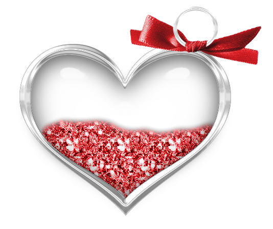 Transparent hearts png. Heart with red bow