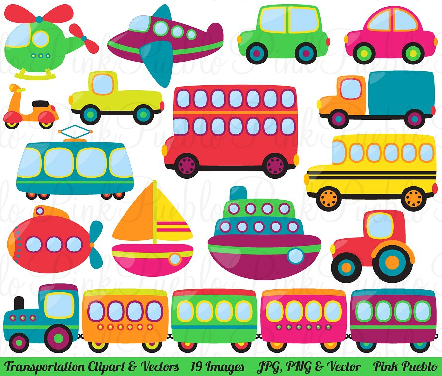 Transportation clipart. And vectors illustrations creative
