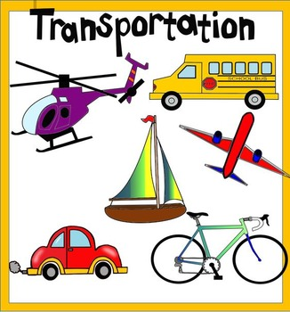 Transportation clipart. Includes color and black