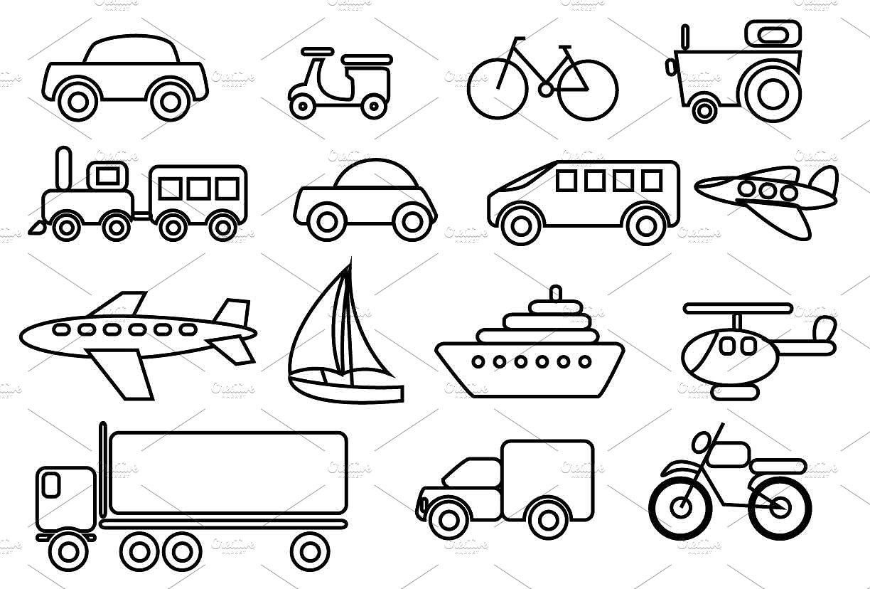 Vector clip art set. Transportation clipart