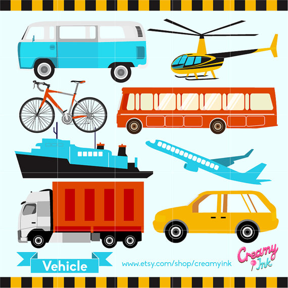 Vehicles digital vector clip. Transportation clipart