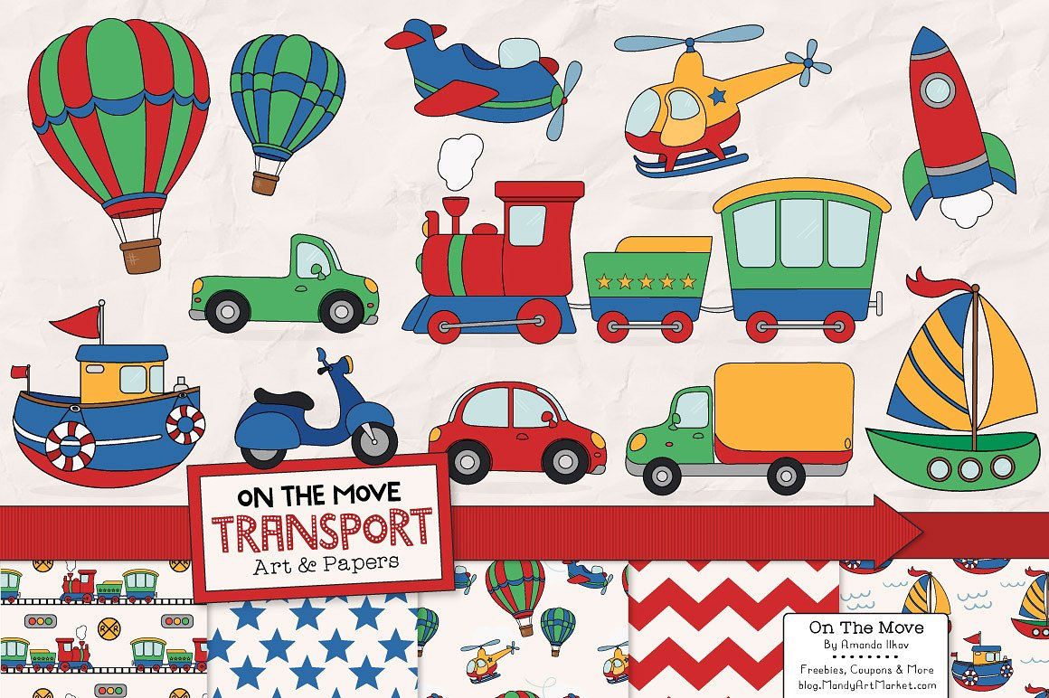 Patterns illustrations creative market. Transportation clipart