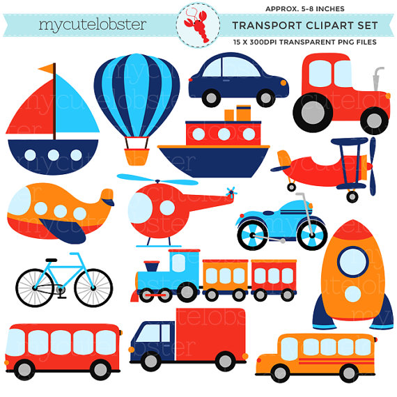 Transportation clipart. Transport set clip art