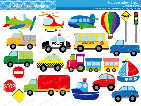 Car taxi school bus. Transportation clipart
