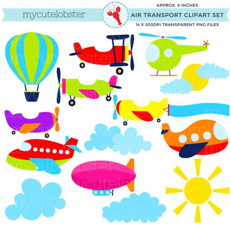 Transport set clip art. Transportation clipart air transportation