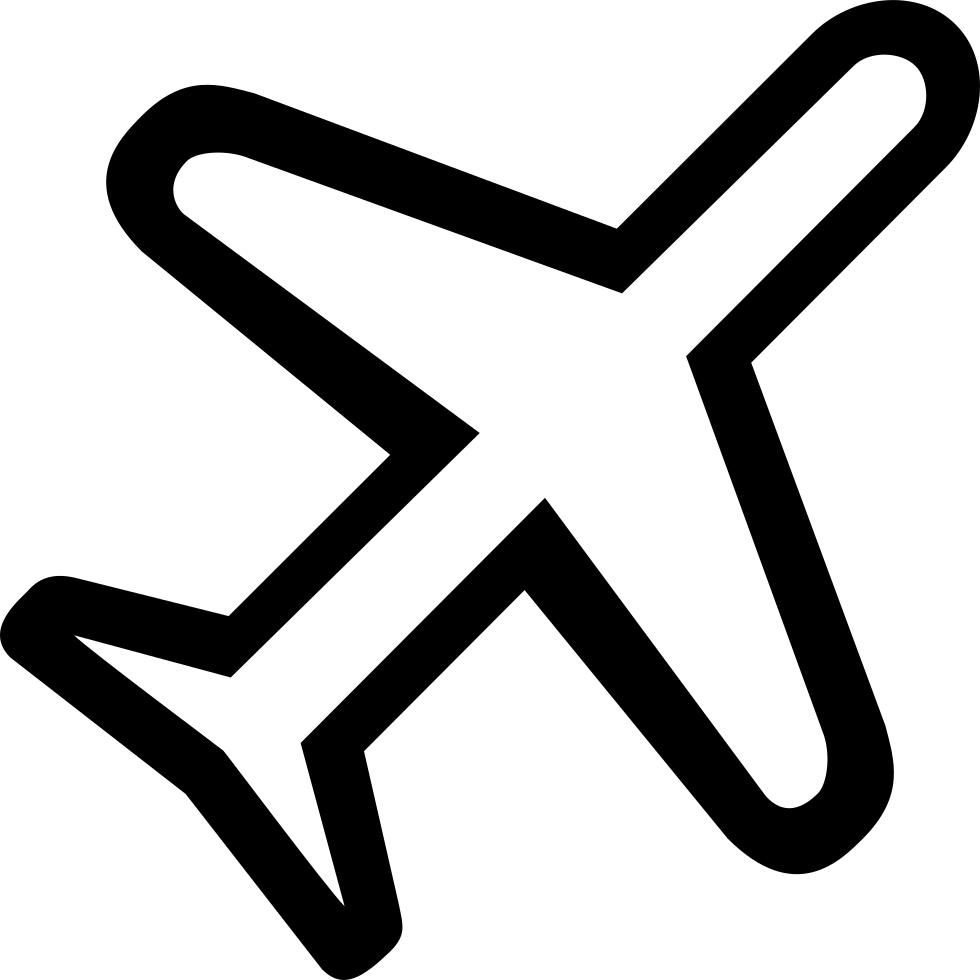 Transportation clipart airplane symbol. Rotated diagonal transport outlined