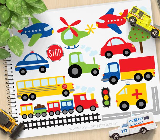 Transportation clipart mode transportation. Trains planes trucks