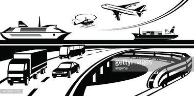 Passenger and cargo stock. Transportation clipart scene