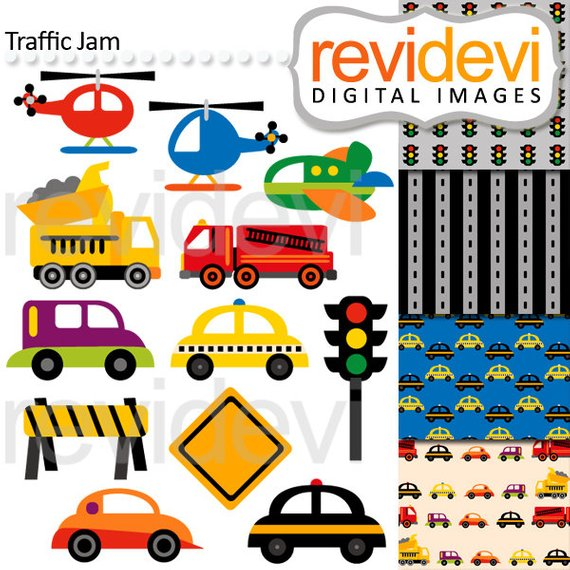 Transportation clipart traffic car. And digital papers cars