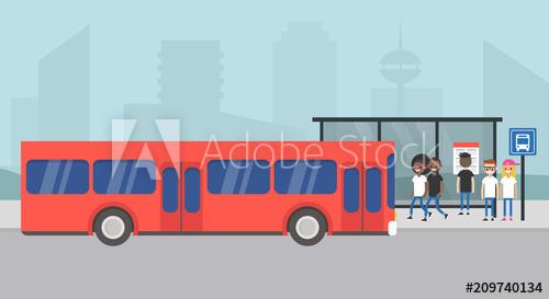 Bus station passengers waiting. Transportation clipart urban transport