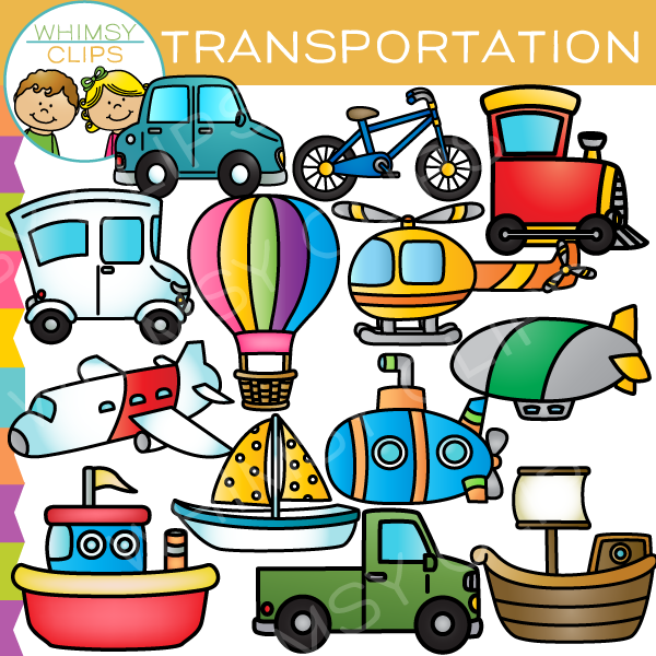 Air land and sea. Transportation clipart