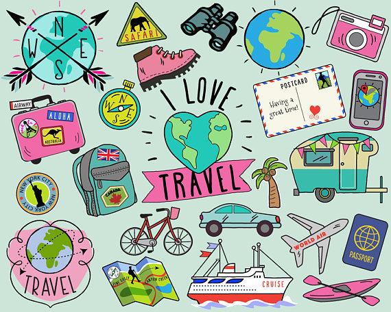 Travel summer journal stickers. Bullet clipart clip art