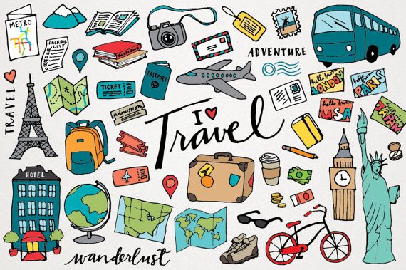 Traveling clipart. Travel hand drawn illustrations