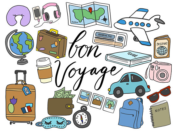 Luggage clipart travel journal. Clip art cute doodles