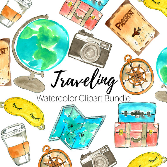 Travel clip art watercolor. Traveling clipart