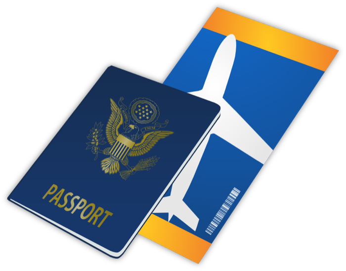 Square clipart animated. Travel passports luggage and